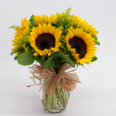 """SUNNY SUNFLOWERS"" arranged in a vase with seasonal filler!"