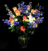 Sunset Blue Delphinum & Roses