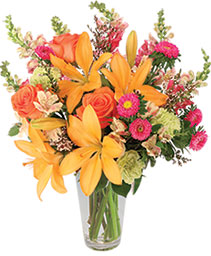 Sunset Lilies & Roses Flower Arrangement