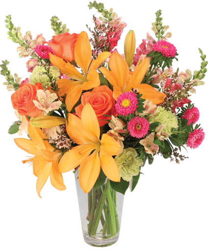Sunset Lilies Roses Flower Arrangement In Bloomington In Mary M S Walnut House Flowers And Gifts