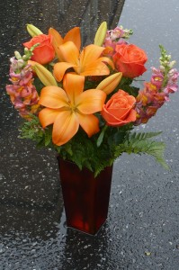 Sunset Lily and Roses Accented with Snapdragons