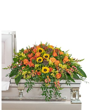 Sunset Reflections Casket Spray Sympathy in Nevada, IA | Flower Bed
