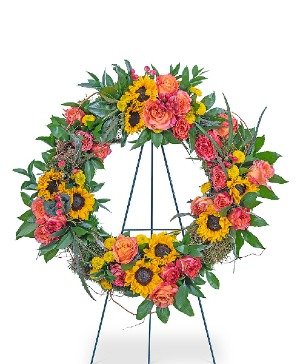 Sunset Reflections Wreath Sympathy in Nevada, IA | Flower Bed