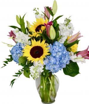 Sunset Sky Vase arrangement in Coral Springs, FL | Hearts & Flowers of Coral Springs