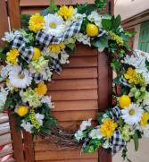 Sunshine and Lemons wreath Silk and grapvine wreath