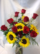 Sunshine and Roses Deluxe Vased Arrangement