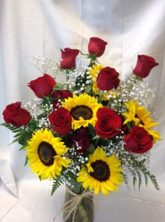 Sunshine and Roses Deluxe Vased Arrangement