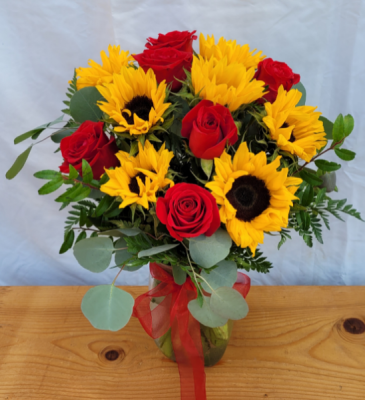 Sunshine and Roses Vase Arrangement