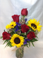 Sunshine and Roses Vased Arrangement