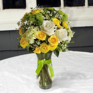 Sunshine and Smiles vase arrangement in North Adams, MA | MOUNT WILLIAMS GREENHOUSES INC
