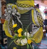 Sunshine & Beeswax Forever Flowers  Silk grapevine wreath