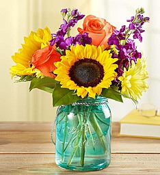 Sunny Autumn Sunshine Bouquet  Sunflowers, and More in Keepsake Candle Jar