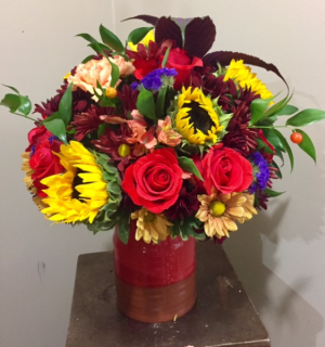 Sunshine Crock Arrangement Fall Flowers in Birmingham, AL | The Cahaba Lily Florist