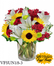 SUNSHINE ELEGANCE RED FLORAL ARRANGEMENT