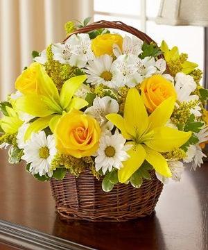 Sunshine in a Basket Basket of yellows and whites in Lebanon, NH | LEBANON GARDEN OF EDEN FLORAL SHOP