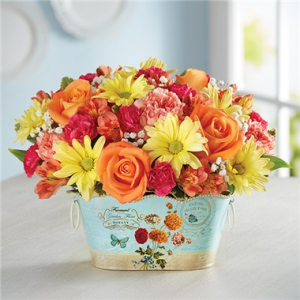Sunshine Kisses In Victorian Style Tin in Gainesville, FL | PRANGE'S FLORIST