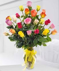 Sunshine Rose Bouquet 2Dz Mixed Roses in Vase