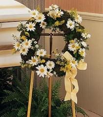 SUNSHINE WREATH Daisy Wreath on Stand