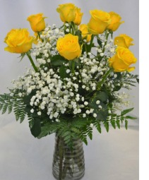 SUNSHINE YELLOW ROSES DOZEN ROSE DESIGN