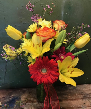 Sunshine/for Mom yellows/reds/ gerb./roses/lillies/tulips