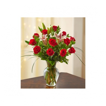 Super Deluxe with Lilies Mixed Rose Arrangement