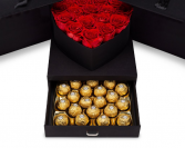 Surprise Me Box Red Roses  Black box red roses with chocolates