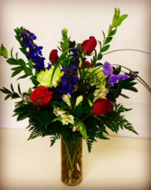 Surprise! Whimsical Rose and Mixed Color Arrangement