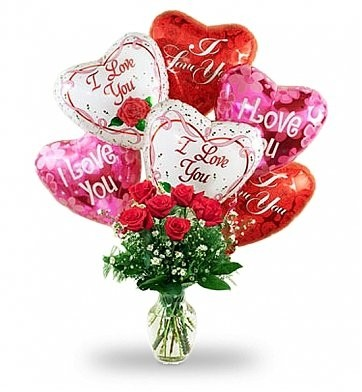 SWEEP THEM OFF THEIR FEET Balloon Bouquet with 6 Long Stem Red Roses ...