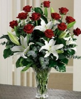 Sweet Adoration     Oriental Lilies & Red Roses