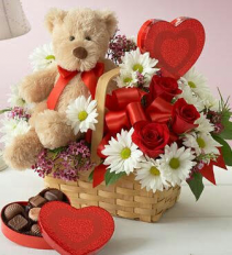 Sweet and Cuddly Valentine's  Basket