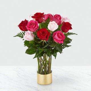 Love and Roses Bouquet Dozen Premium mixed color roses