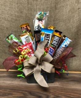 Sweet treats for him Chocolate bar and candy bouquet