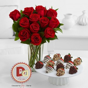 "SWEET AS LOVE DOZEN LONG STEM RED ROSES IN VASES WITH A BOX OF 1 DOZEN SUCCULENT CHOCOLATE COVERED STRAWBERRIES FROM WELL KNOWN ""DESSERTS BY DANA"" in Philadelphia, PA 