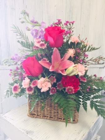 Sweet As Pie Basket Floral Oasis Arrangement
