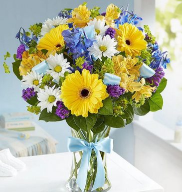 Sweet Baby Boy Mixed Floral Bouquet