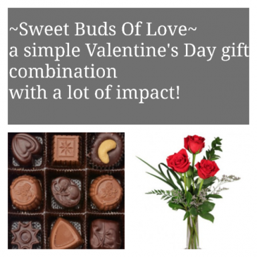 Sweet Buds Of Love Combination of a box of our delicious truffles and 3 beautifully arranged red roses in a bud vase