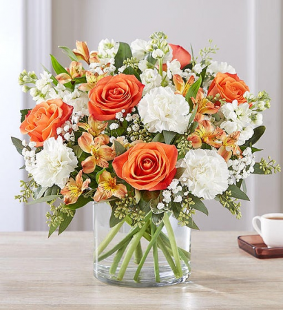 Sweet Citrus Bouquet In Clear Glass Cylinder Vase