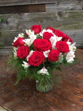 Sweet Dozen Red Rose Arrangement