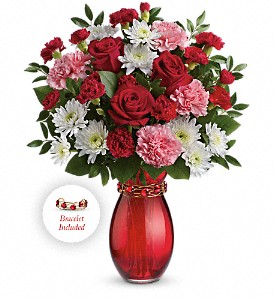 Teleflora's Holiday Embrace Vase Arrangement with Bracelet
