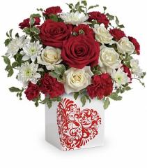 Sweet-Heart Bouquet Cube Arrangement