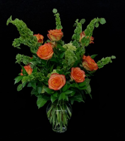 Sweet Lass Bells of Ireland with Rose Design
