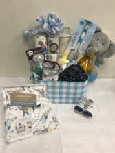 Sweet Little Baby Boy Gift Box  Stuffed animal and assorted baby boy products
