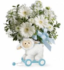 Sweet Little Lamb - Baby Blue floral arrangement