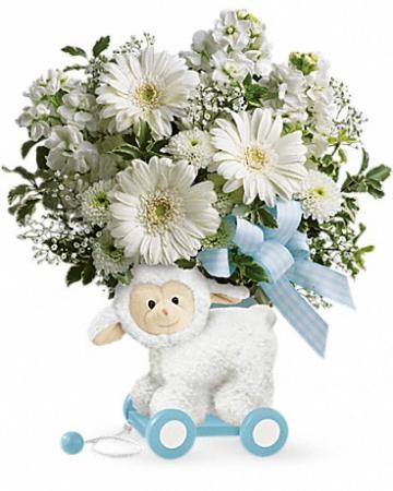 Sweet Little Lamb - Baby Blue One-Sided arrangement