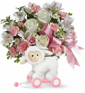 Sweet Little Lamb - Baby Pink floral arrangement
