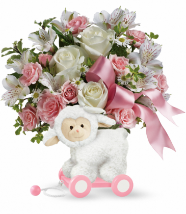 Sweet Little Lamb - Baby Pink One-Sided floral arrangement