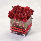 Sweet Love 16 roses in a cube vase