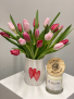 Sweet Love Ceramic Love Heart Vase with mixed Valentines Day Tulips.