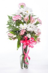 Sweet Love Pink and White flowers in bud vase