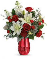 Radiantly Rouge Specialty vase with assorted flowers
